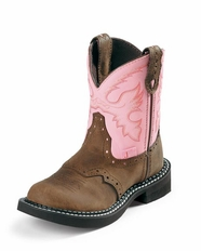 Justin Boots - Children's Gypsy Bay Apache w/ Saddle Vamp / Pink Cow (Closeout)