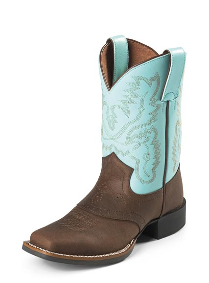 Justin Boots - Youth AQHA Bay Crazy Horse with Saddle Vamp / Aqua Cowhide (Closeout)