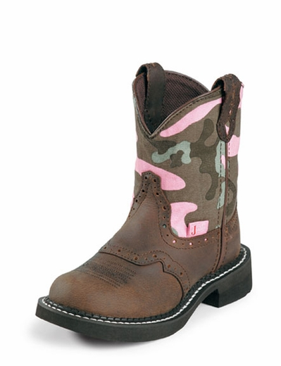 Justin Boots - Youth Gypsy Aged Bark with Saddle Vamp / Camo