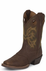 Justin Children's Cowboy Boots Juniors Stampede Boots - Brown Oiled with Saddle Vamp / Yucca (Green) (Closeout)