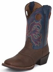 Justin Children's Cowboy Boots Juniors Stampede Boots - Dark Brown with Saddle Vamp / Blue Jean