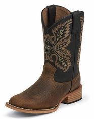 Justin Children's Square Toe Western Boots - Black/Coyote