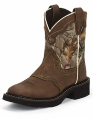 Justin Children's Square Toe Western Boots - Camo/Brown