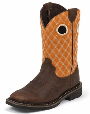 Justin Children's Square Toe Western Boots - Orange/Barnwood