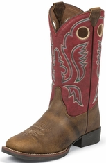 Justin Childrens Square Toe Western Boots - Arizona Buffalo (Closeout)