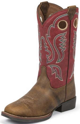 Justin Childrens Square Toe Western Boots - Arizona Buffalo