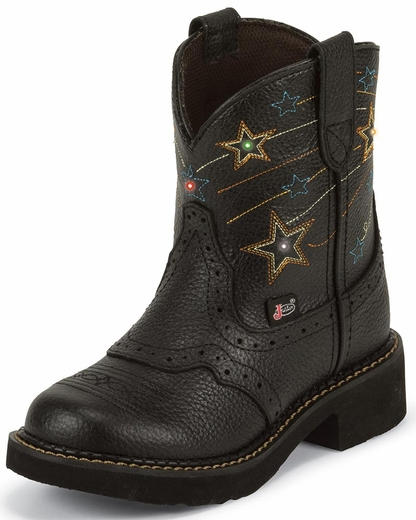 Justin Girls Gypsy Cowgirl Boots with Shooting Stars - Black (Closeout)