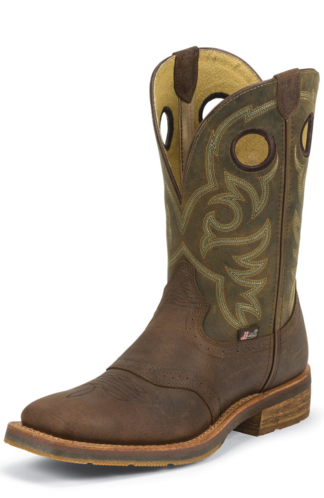 "Justin Men's 11"" 1879 Collection Cowboy Boots - Barnwood Brown"