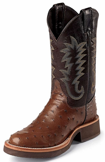 Justin Men's Full Quill Ostrich Cowboy Boots with Tekno Crepe Sole - Antique Brown
