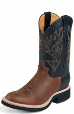 Justin - Men's Leather Cowboy Boots with Tekno Crepe� Sole - Coffee / Black