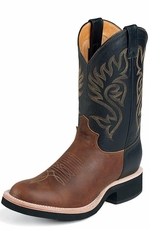 Justin Men's Leather Cowboy Boots with Tekno Crepe Sole - Coffee/Black