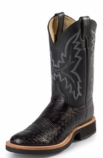 Justin - Men's Smooth Quill Ostrich Cowboy Boots with Tekno Crepe Sole - Black