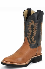 Justin - Men's Smooth Quill Ostrich Cowboy Boots with Tekno Crepe Sole - Cognac