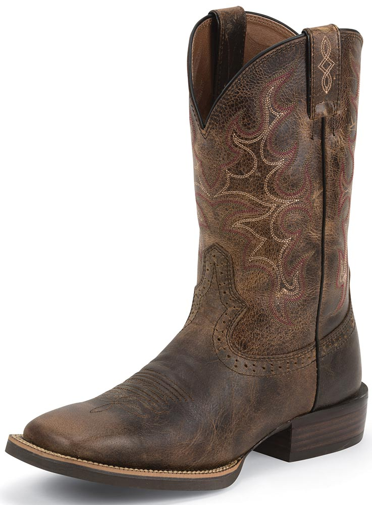 Justin Mens 11&quot Silver Collection Cowboy Boots - Antique Brown