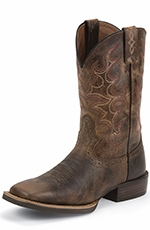 "Justin Mens 11"" Silver Collection Cowboy Boots - Antique Brown"
