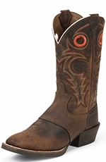 "Justin Mens Silver Collection 12"" Cowboy Boots - Buffalo Brown"