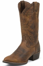 "Justin Mens Silver Collection 13"" Cowboy Boots - Rugged Tan"