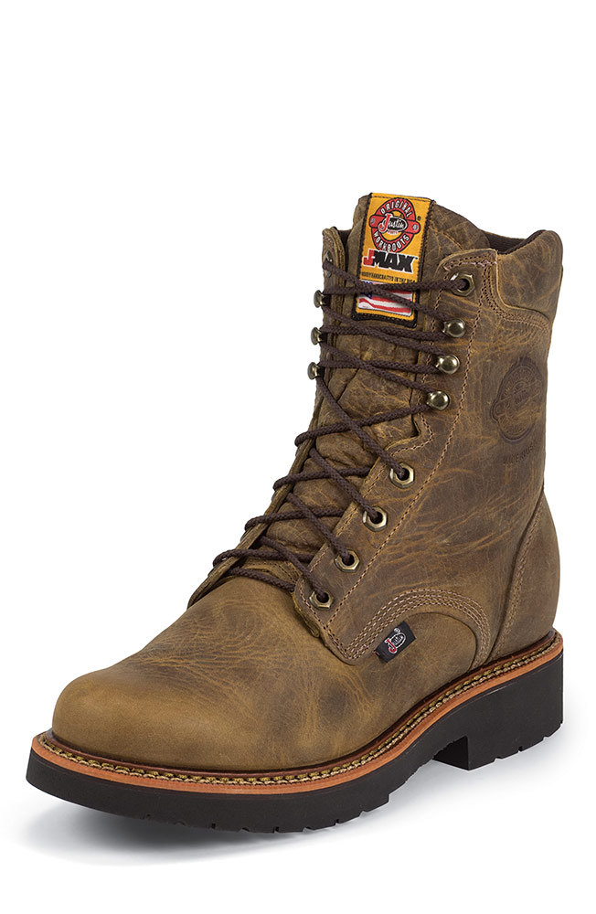 "Justin Mens 8"" Lace Up Work Boots - Rugged Tan"