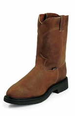 "Justin Mens Original Workboots 10"" Steel Toe Pull-On - Aged Bark"
