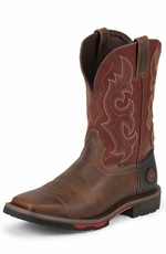 "Justin Mens Stampede Composite Toe 11"" Pull On Work Boots - Red/Brown"