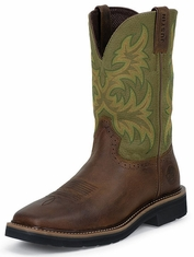 "Justin Original Workboots Men's 11"" Pull On Work Boots - Hunter Green/Waxy Brown"