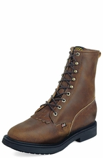 "Justin Original Workboots Men's 8"" Lace-R Steel Toe Boots - Aged Bark"