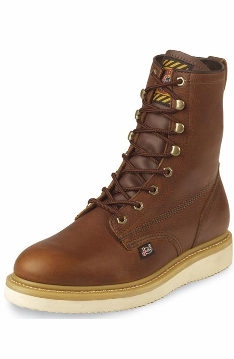 "Justin Original Workboots Men's 8"" Premium Lace Up Boots - Tan"