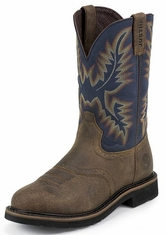 "Justin Original Workboots Men's Stampede 11"" Pull On Workboots - Steel Blue/Copper"