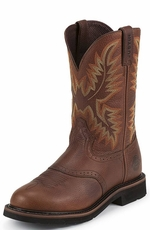 "Justin Original Workboots Men's Stampede 11"" Pull On Workboots - Sunset Cowhide"