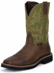 "Justin Original Workboots Men's Stampede Steel Toe 11"" Pull On Work Boots - Hunter Green/Brown"