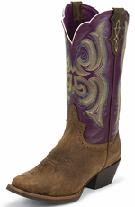 Justin Womens Distressed Square Toe Cowboy Boots - Tan/Purple (Closeout)