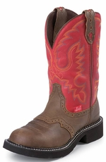 "Justin Women's 11"" Bay Apache Waterproof Gypsy Cowgirl Boots - Red Cow (Closeout)"
