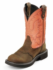 "Justin Women's 11"" Gypsy Cowgirl Bay Apache / Coral Cow Cowboy Boots"