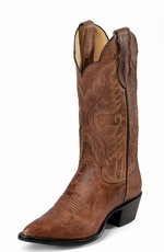 "Justin Women's 12"" Western Tan Distressed Vintage Goat Cowboy Boots - Tan Distressed"
