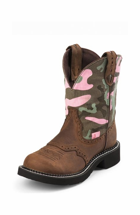 "Justin Women's 8"" Gypsy Cowgirl Aged Bark / Camouflage Cowboy Boots"