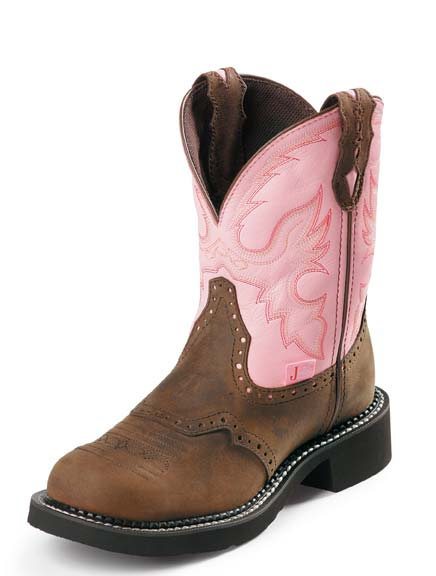 "Justin Women's 8"" Gypsy Cowgirl Bay Apache / Pink Cow Cowboy Boots"