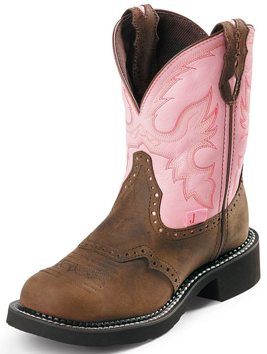 "Justin Women's 9"" Bay Apache Steel Toe Gypsy Workboots - Pink Cowhide"
