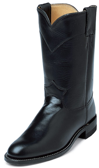 Justin Women's Roper Cowgirl Boots - Black Kipskin (Closeout)
