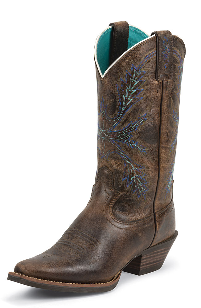 "Justin Womens 12"" Silver Collection Boot - Antique Brown"