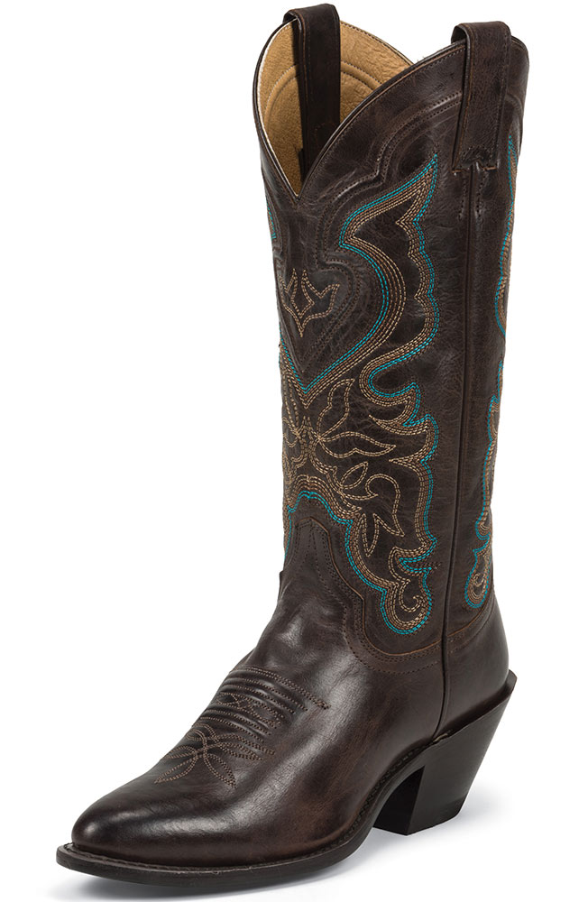 "Justin Womens 13"" Western Cowboy Boots - Arizona Dark Brown"