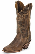 "Justin Womens Bent Rail 12"" Square Toe Cowboy Boots - Tan Road"