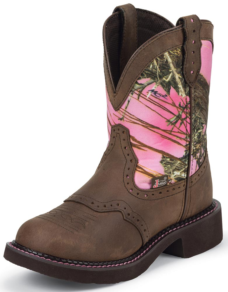 justin womens pink camo cowboy boots pink brown