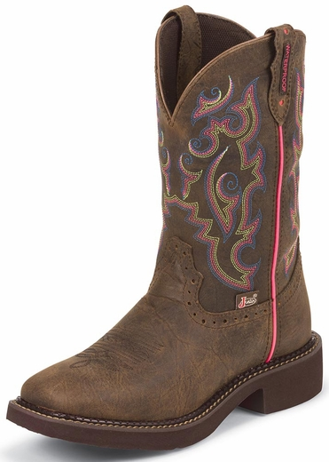 Justin Womens Gypsy Square Toe Boots - Barnwood Brown Buffalo