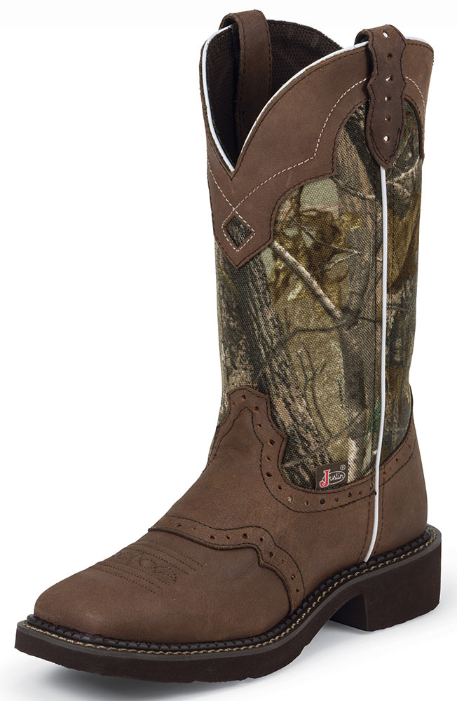 justin womens square toe cowboy boots camo brown