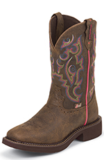 Justin Womens Gypsy Square Toe Boots - Barnwood Brown Buffalo (Closeout)