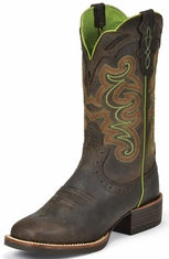 Justin Womens Silver Collection Cowboy Boots - Chocolate Puma Buffalo