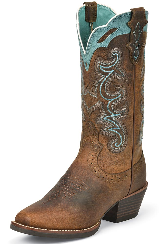 Justin Womens Silver Collection Cowboy Boots - Rugged Tan Buffalo