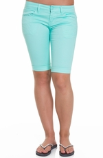 JZ Jeans Womens Colored Bermuda Shorts - Aqua (Closeout)