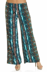 K&C Women's Printed Palazzo Pant - Teal/Brown