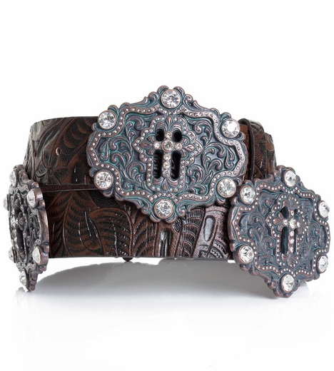 Kamberley Womens Cross Concho Belt - Brown